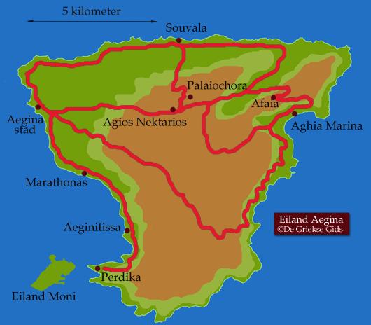 Kaart - Landkaart Aegina