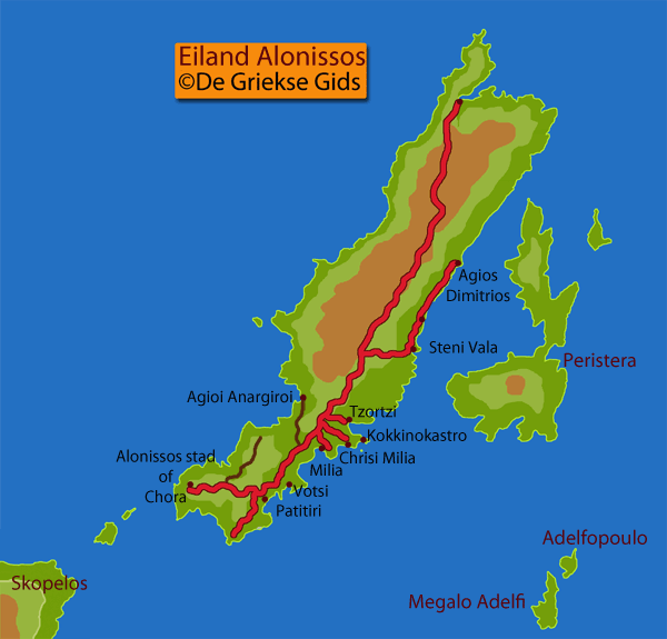 De kaart / landkaart van Alonissos