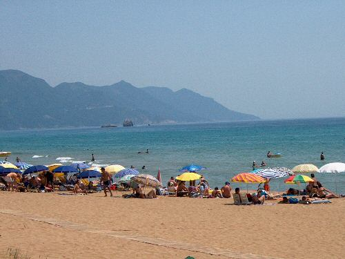 The beach of Glyfada (Glifada) Corfu