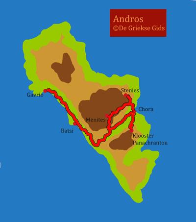 De kaart van Andros
