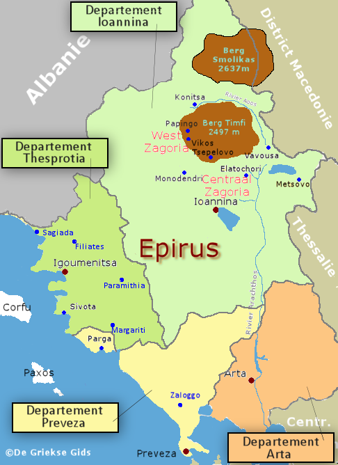 De kaart van Epirus - The map of Epirus