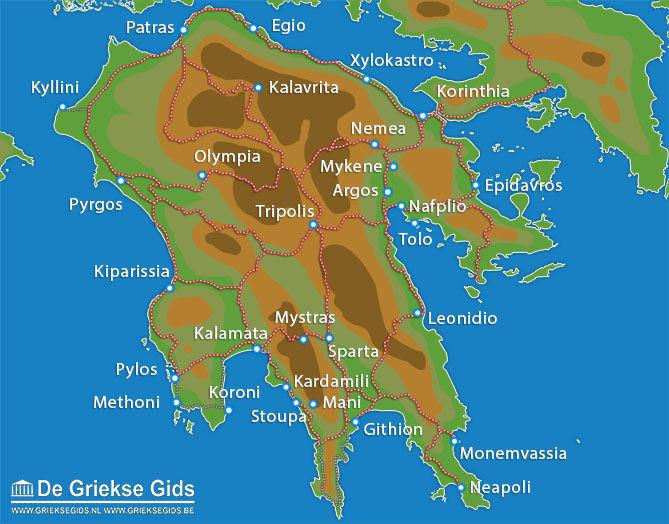 Peloponnesos - Kaart van Peloponnesos