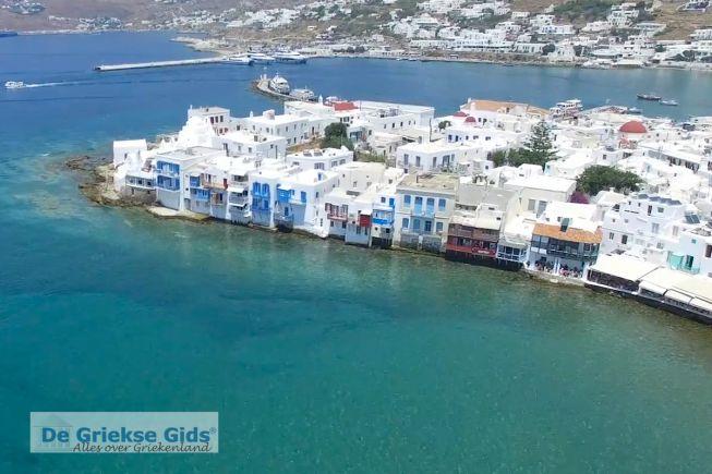 Cycladen: Luchtfoto van Mykonos-stad