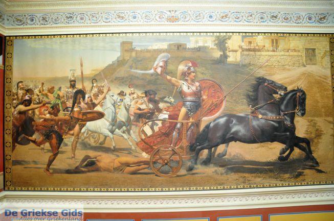 Achilles sleept Hector achter zijn strijdwagen Achilleion