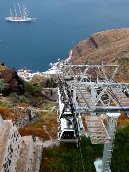 Kabelbaan op Santorini. Foto van Peter-Paul de Rijcker