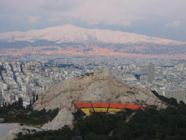 Sneeuw in Athene
