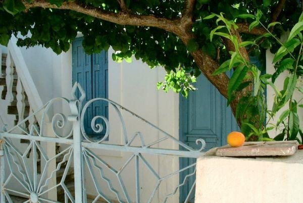 Karpathos  Huisje in Menetes met abrikozenboom.  foto: Joyce R. Bos
