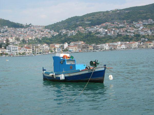 Vissersboot Samos stad