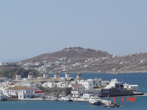 Uitzicht Mykonos stad