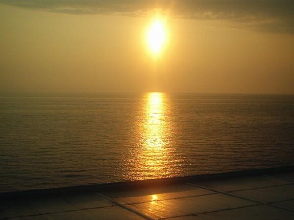 Zonsondergang bij Patras