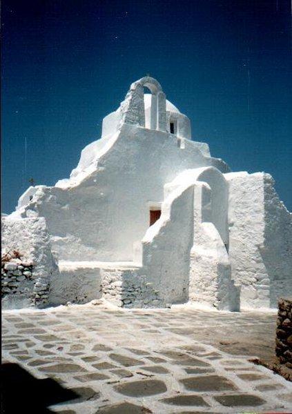 De kerk van Paratortiani op Mykonos