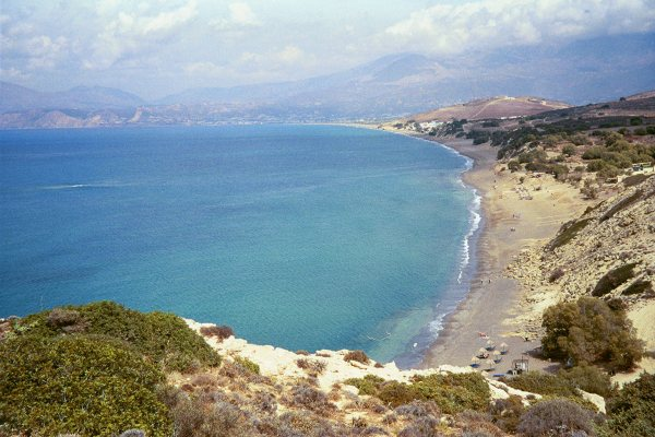 Baai Messara zuid-Kreta. Bij Komos en Kalamaki