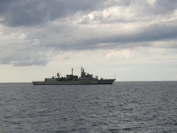 Oorlogsschip bij Kreta