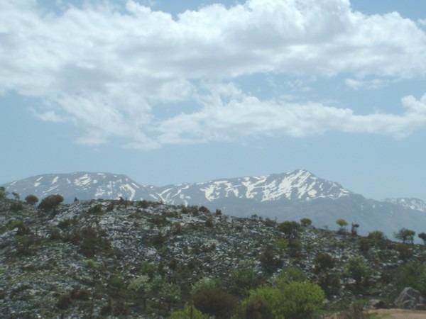 Kreta. Het Lassithi gebergte met sneeuw