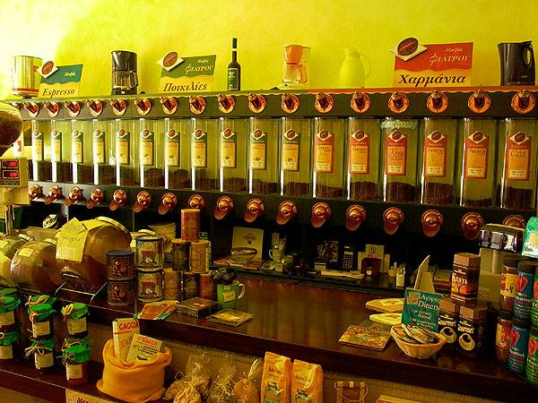 Koffie winkel in eiland stad, Kefalonia