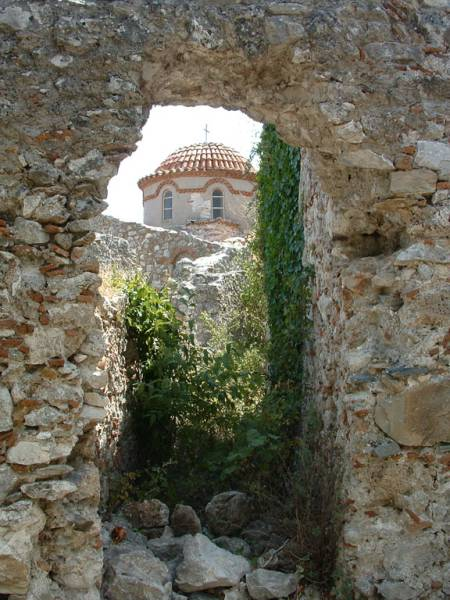 Mystras (Byzantijnse ruïne stad) kerkje. Peleponnesos Foto: Marcel Dekker