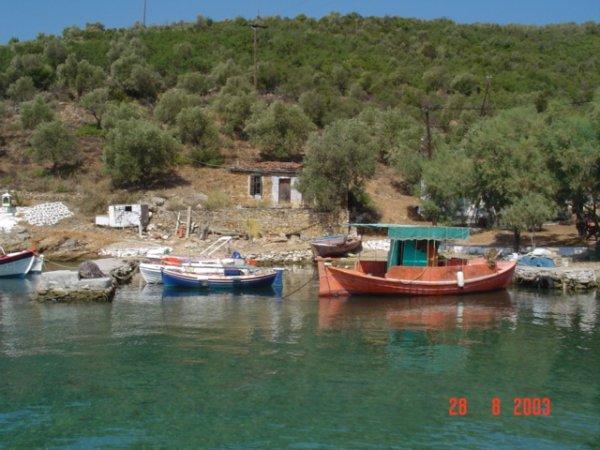 Vissersbootjes Pilion. Foto van Joop van Rijs