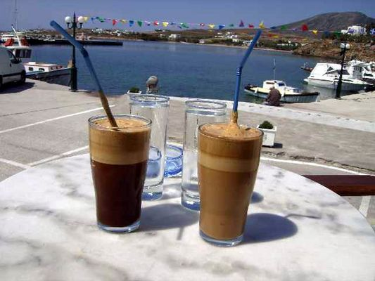 Coffee near the harbour of Logaras Paros