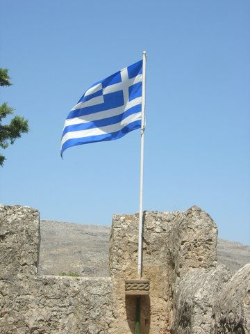 Griekse vlag in Lindos Griekenland