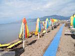Parasols en ligbedden aan strand van Skala Kallonis - Foto van De Griekse Gids