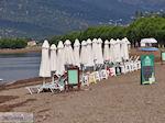 Ligbedden staan klaar aan het strand van Skala Kallonis - Foto van De Griekse Gids