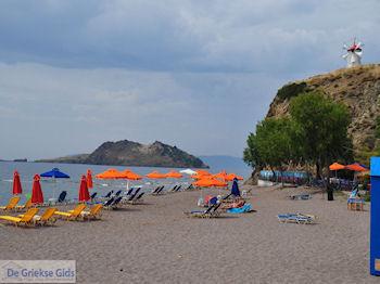 Anaxos strand met op de heuvel de bekende windmolen - Foto van https://www.grieksegids.nl/fotos/eilandlesbos/350pixels/eiland-lesbos-foto-149.jpg