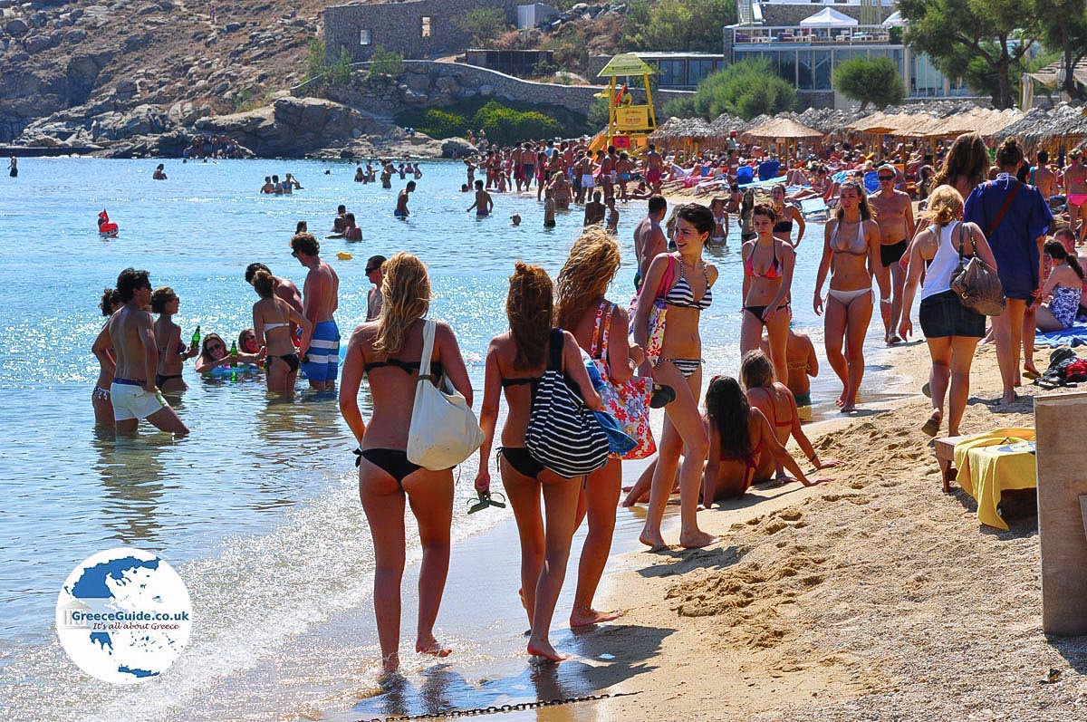 Paradise Beach Mykonos Kalamopodi Griekenland De Griekse Gids Foto 4