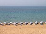 Het strand bij het Korision-meer op Corfu