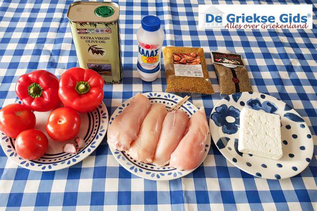 Ingrediënten voor gevulde kip met feta
