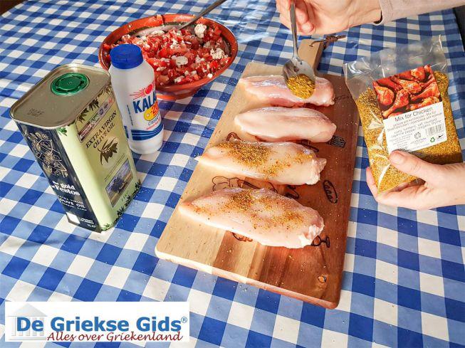 Kipfilet met Griekse kipkruiden en zou bestrooien