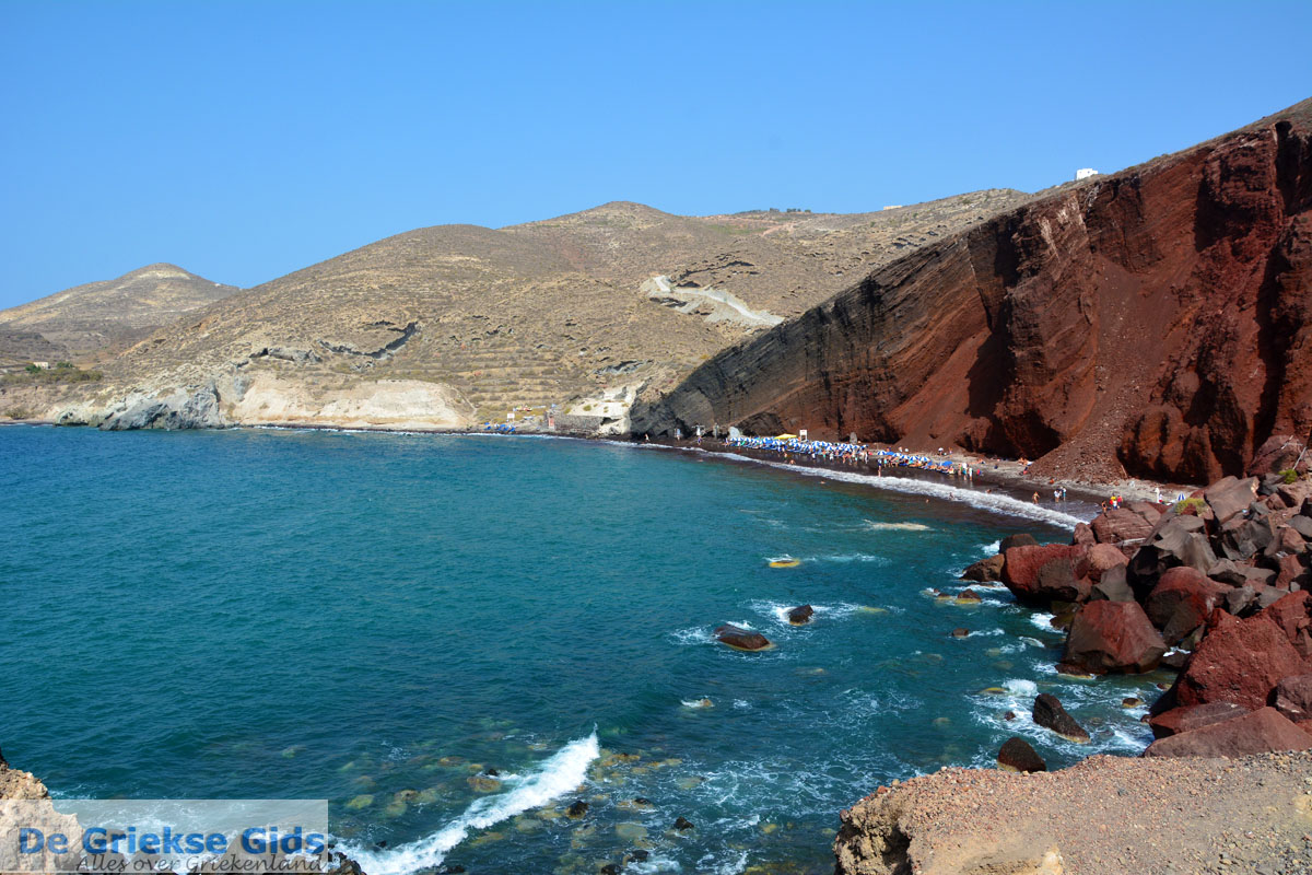 Red Beach Akrotiri Santorini  Cycladen Griekenland  Foto ...
