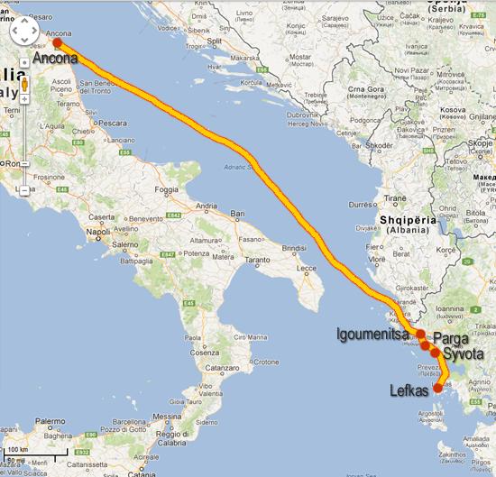 Route Ancona - Lefkas
