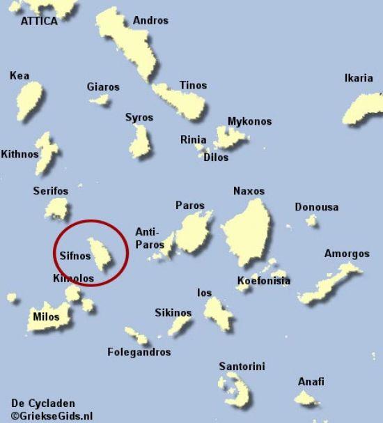 kaart map Sifnos Cycladen Griekenland