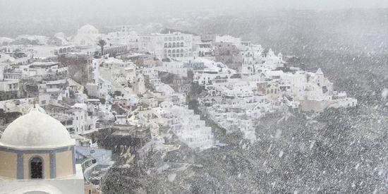 Santorini in de sneeuw