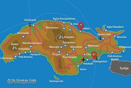 Kaart Samos Kokkari en Pyhagorion
