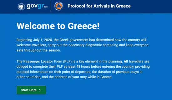 PLF formulier Griekenland