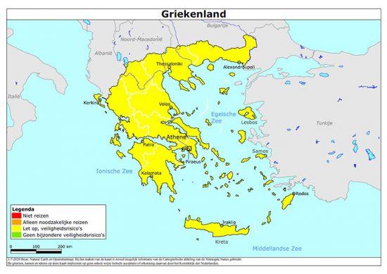Kaart code geel Griekenland