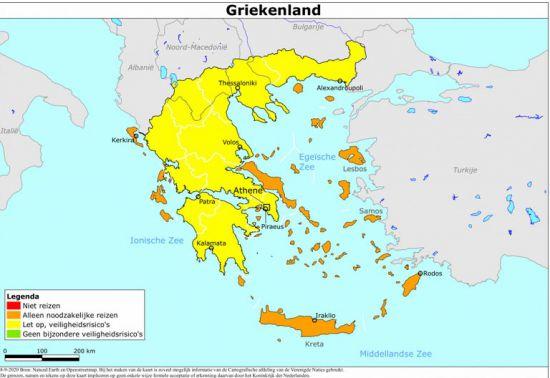 Kaart Griekse eilanden, waar is het code oranje