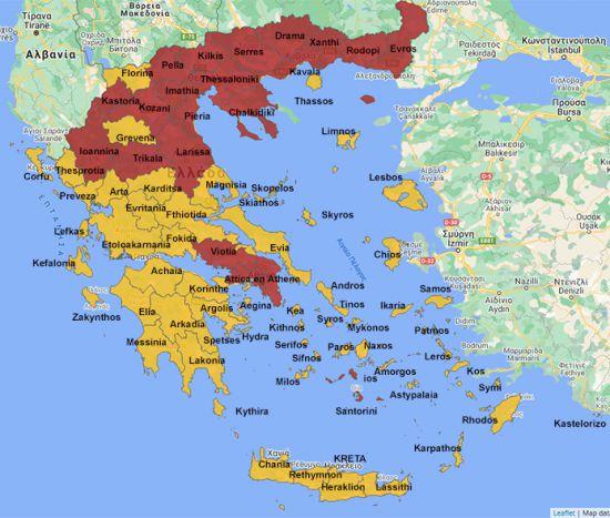 Covid-19 kaart Griekenland