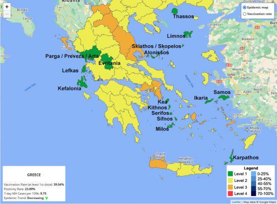 Covid kaart Griekenland