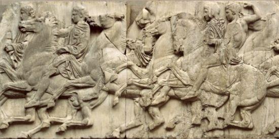 Delen van de noordelijke frieze van het Parthenon