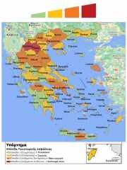 Kaart actuele covid-19 situatie in alle regio's van Griekenland