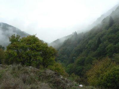 Ravijn bij ag. Dimitrios in de nevels gehuld. - Foto van anna
