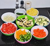 Gesneden ingredienten voor briam
