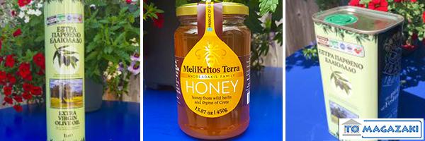Olijfolie en honing Griekse voedingswaren