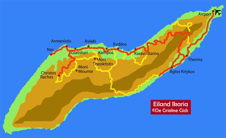 Ikaria Kaart - Landkaart Ikaria