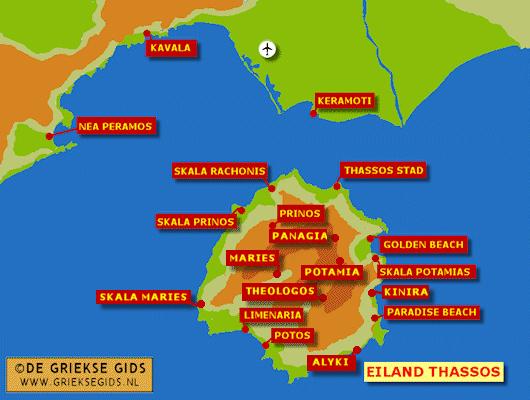 De kaart van Thassos