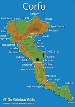 De interactieve kaart van Corfu