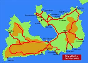 De interactieve kaart van Milos