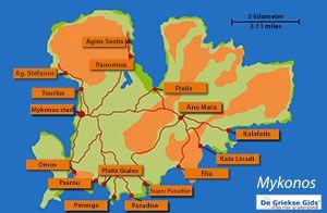 De interactieve kaart van Mykonos